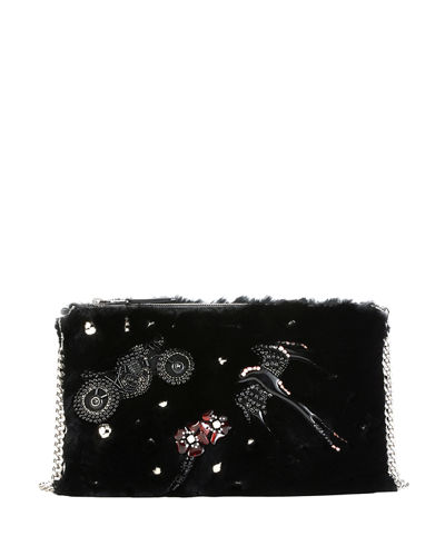Beaded Rabbit Fur Clutch Bag