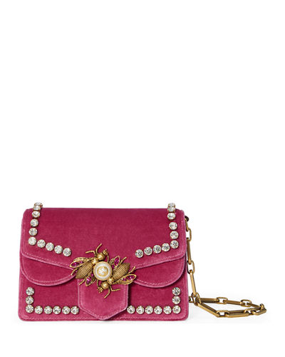 Broadway Small Velvet Bee Shoulder Bag