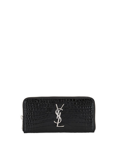 Monogram Croc-Embossed Zip Wallet