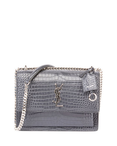 Sunset Medium Crocodile-Embossed Crossbody Bag