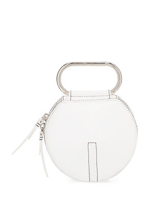 'Alix' paperclip handle leather circle clutch