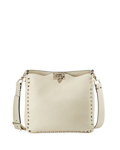 Rockstud Rolling Small Ricamo Leather Hobo Bag
