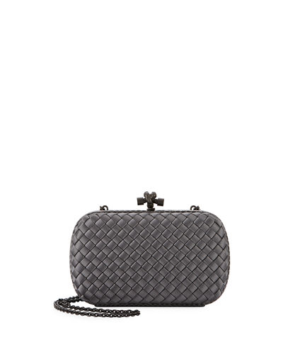 Medium Chain Knot Satin Clutch Bag