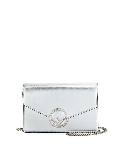 Logo Mirror Calf Wallet with Chain