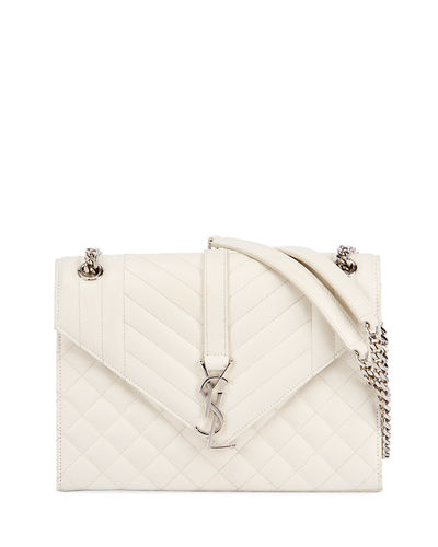 V Flap Monogram Medium Envelope Shoulder Bag w/ Silvertone Hardware