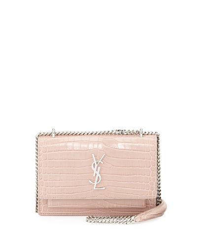 Sunset Monogram Small Crocodile-Embossed Wallet on a Chain