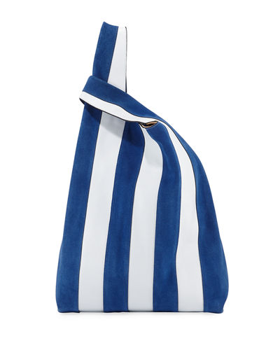 Suede & Leather Stripe Shopper Tote Bag