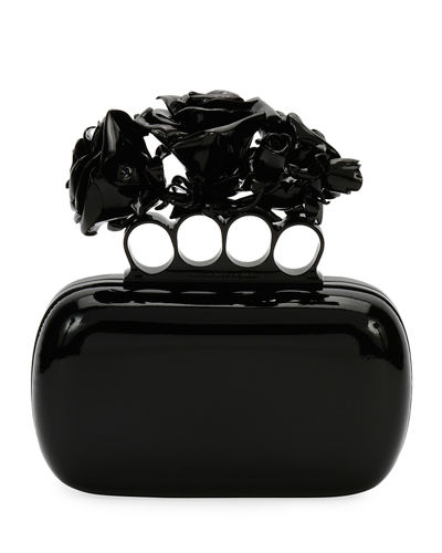 Patent Roses Knuckle Clutch Bag, Black