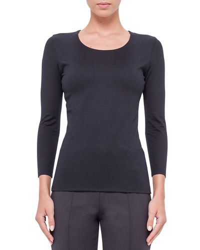 Fitted 3/4-Sleeve Stretch-Jersey Top