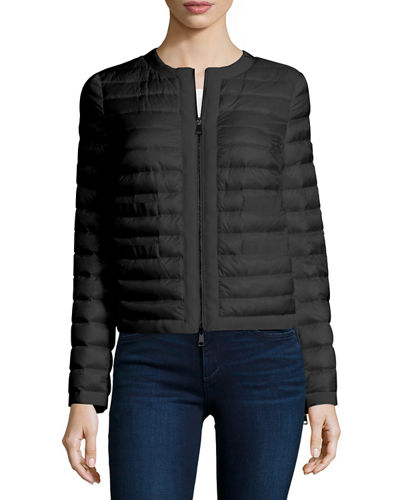 Quilted Down Vest w/Grosgrain Collar