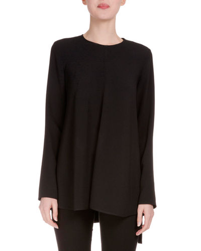 Long-Sleeve Side-Tie Crepe Blouse