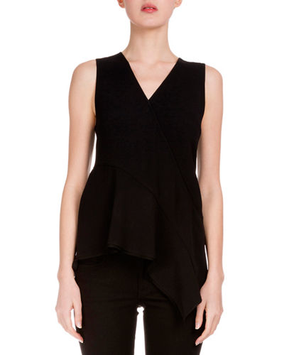 V-Neck Asymmetric-Hem Tunic, Black
