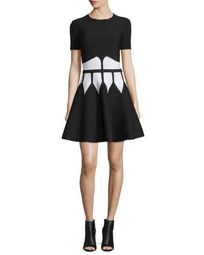 Jewel-Neck Dress with Graphic Flame Waist