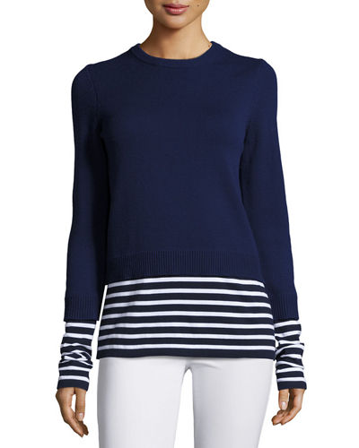 Layered Striped Crewneck Sweater
