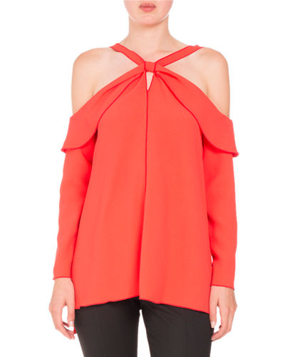 Long-Sleeve Off-Shoulder Knot Top