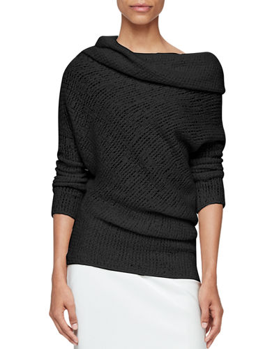 Draped Off-Shoulder Sweater