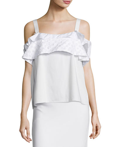 Tiered-Ruffle Cold-Shoulder Top