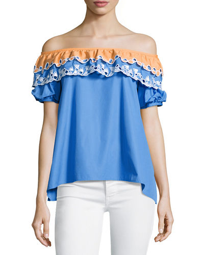 Embroidered Off-Shoulder Top