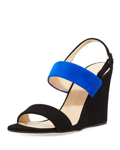 Two-Band Suede Wedge Sandal