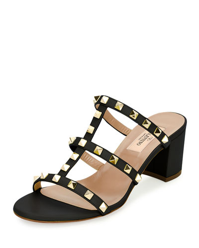 Valentino Rockstud Caged 60mm Slide Sandal