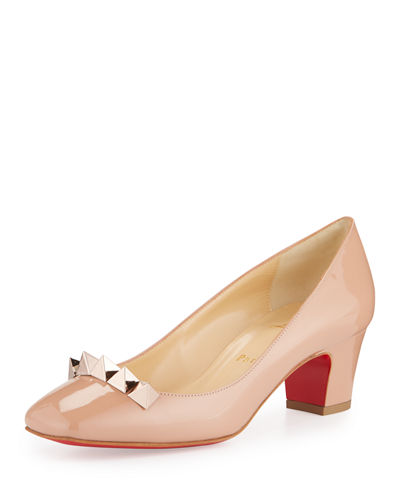Christian Louboutin Pyramidame Block-Heel Red Sole Pump