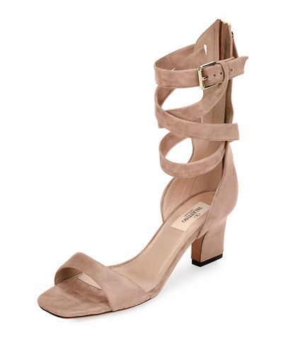 Plum Suede Back-Zip Ankle-Wrap Sandal