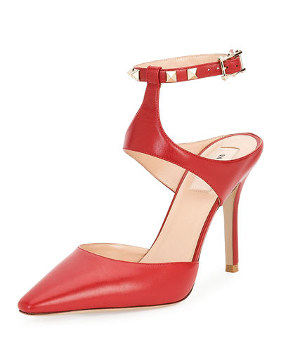 Rockstud Leather Ankle-Strap Pump