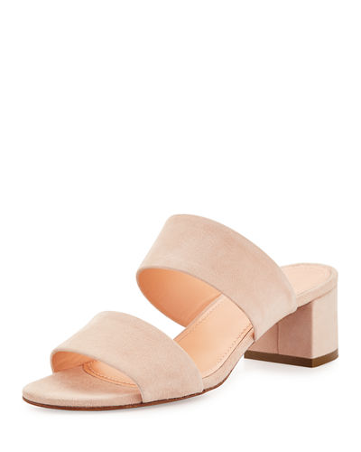 Suede Two-Strap Mule Sandal