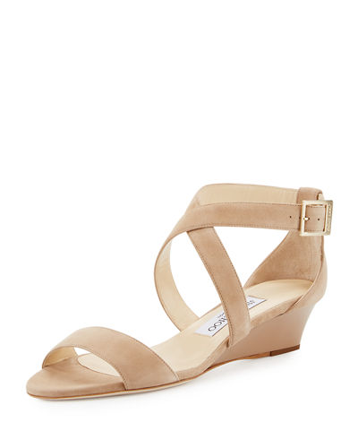 Jimmy Choo Chiara Suede Demi-Wedge Sandal