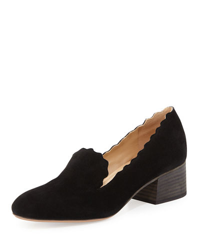 Scalloped Suede 40mm Loafer