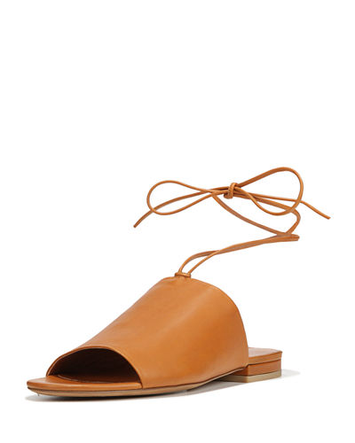 Damon Leather Ankle-Tie Mule