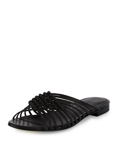Aggie Woven Leather Slide Sandal