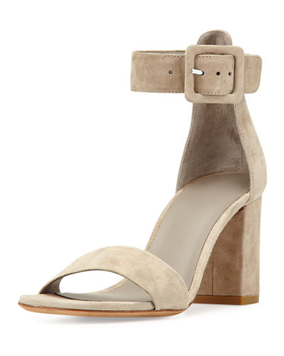 Suede Ankle-Strap City Sandal