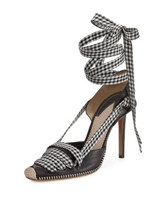 ALTUZARRA Leather D'Orsay Heels In Black, Checkered & Plaid.