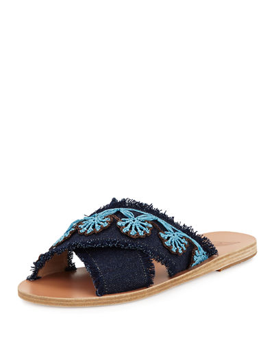 Ancient Greek Sandals Thais Raffia Denim Flat Slide