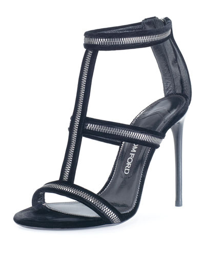 Zip-Trim Velvet 105mm Sandal