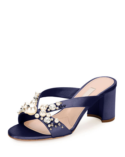 Jeweled Satin Block-Heel Mule Sandal
