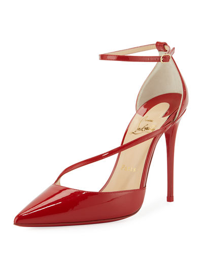 Fliketta Patent 100mm Red Sole Ankle-Wrap Pump