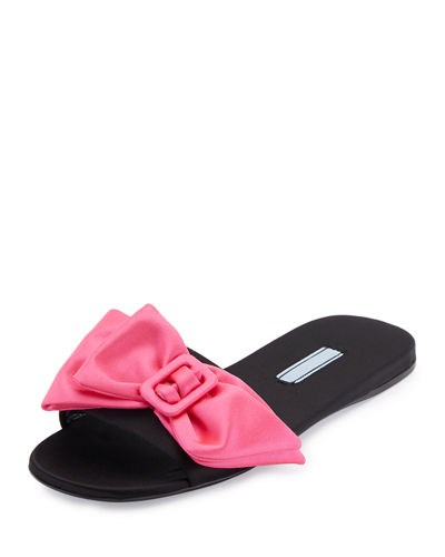 Satin Bow Mule Slide Sandal