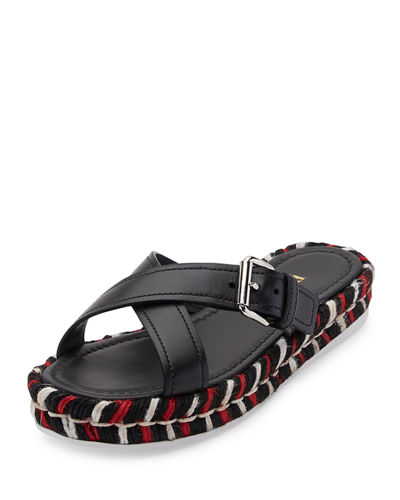 Leather Crisscross Buckle Sandal