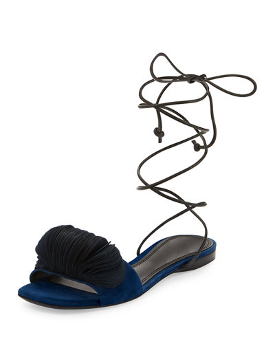 Odalia Lace-Up Suede Sandal