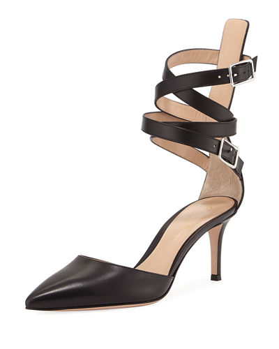 Gianvito Rossi Aleris D' Orsay 70 Leather Ankle-Wrap