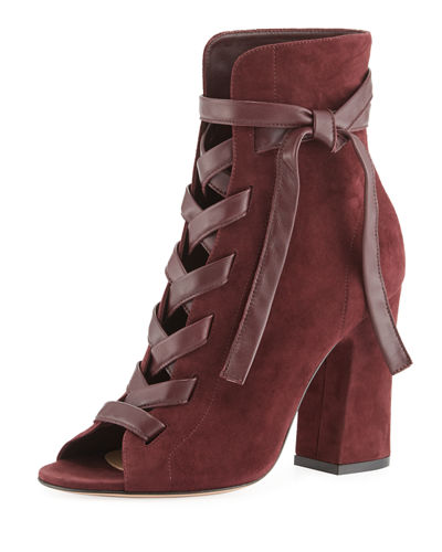 Brooklyn Suede Open-Toe Lace-Up Bootie