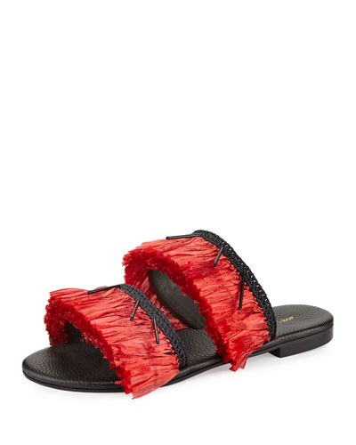 Ibiza Fringed Flat Two-Band Slide Sandal