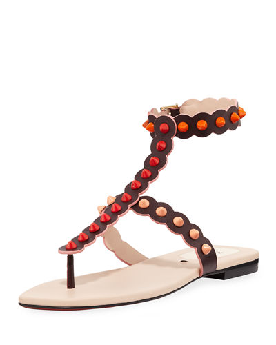 Fendi Studded Ankle-Wrap Flat Thong Sandal