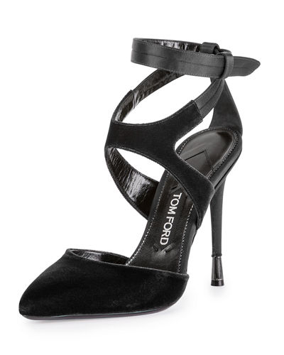 TOM FORD Velvet Ankle-Strap 105mm Pump