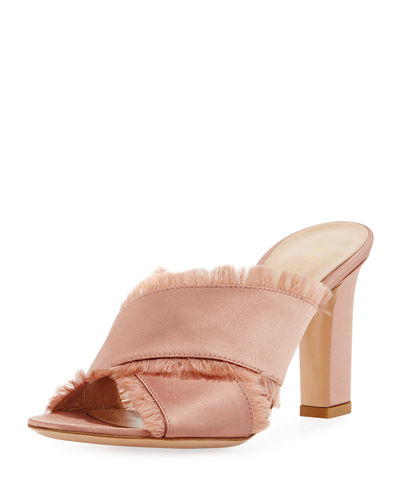 Frayed Satin Crisscross Mule Sandal