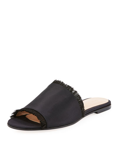 SATIN SLIDE SANDAL W/ FRAYED