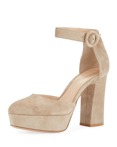 Gianvito Rossi Suede Platform Mary Jane Pump