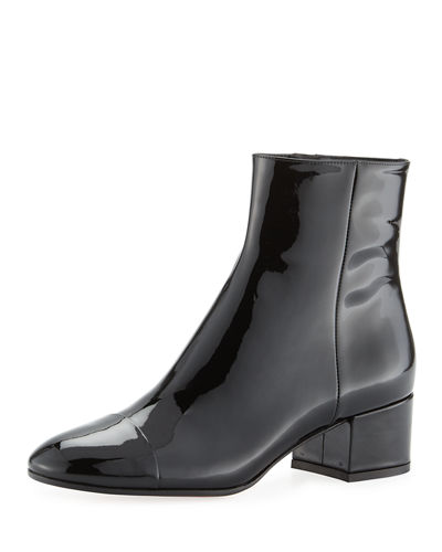 Langley 45 Patent Cap-Toe Block-Heel Boot